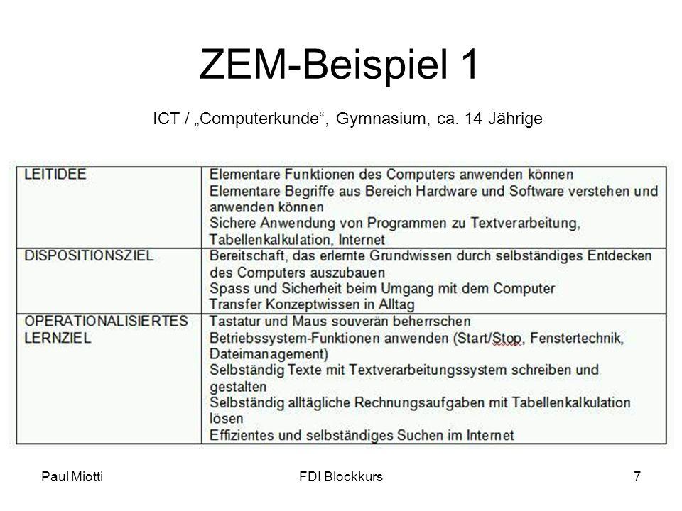 """ZEM-Beispiel 1 ICT / """"Computerkunde , Gymnasium, ca. 14 Jährige"""