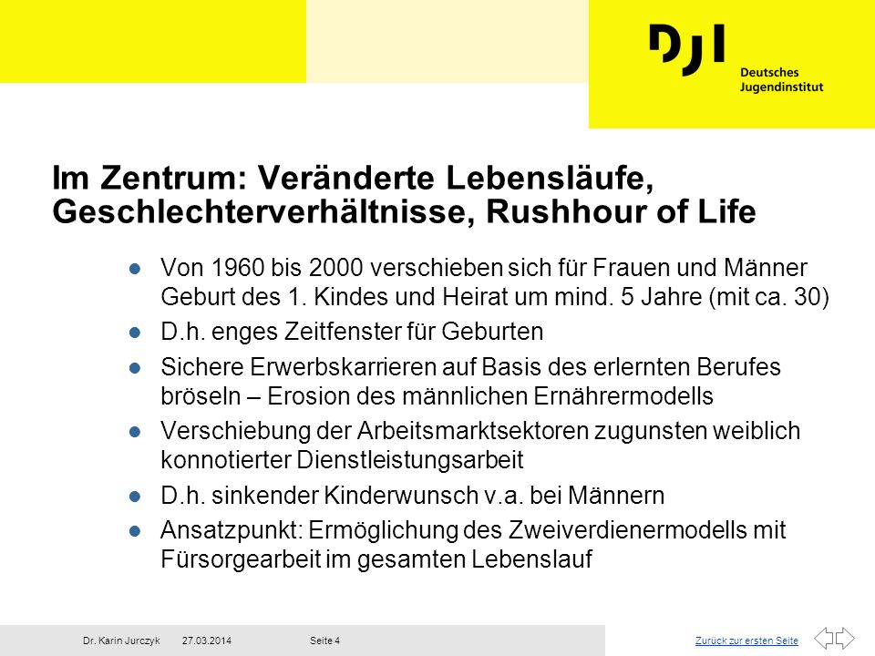 Im Zentrum: Veränderte Lebensläufe, Geschlechterverhältnisse, Rushhour of Life