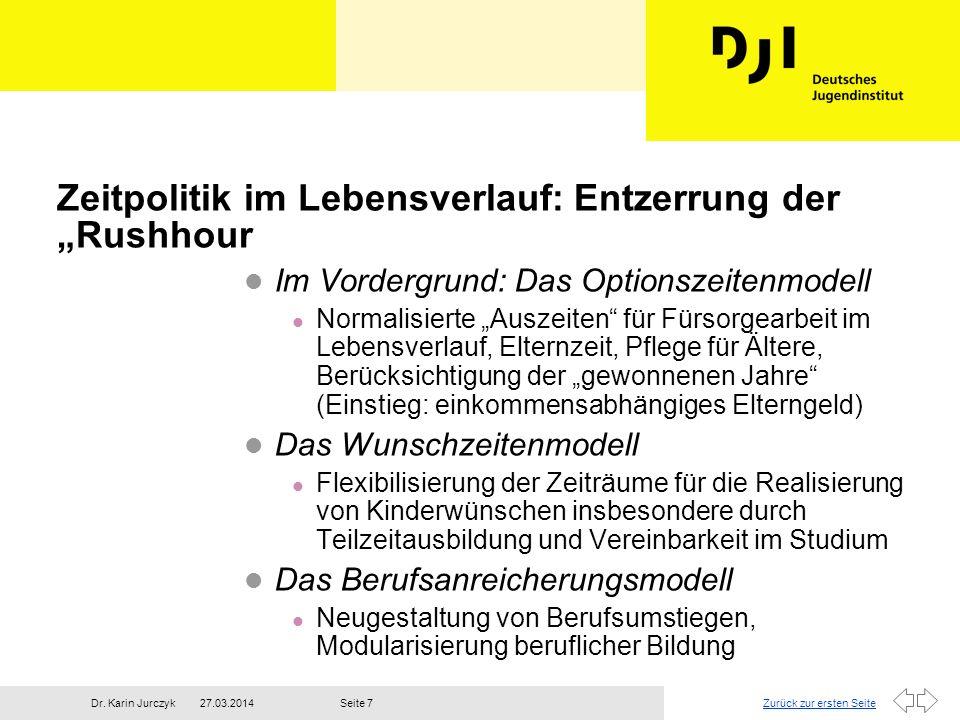 """Zeitpolitik im Lebensverlauf: Entzerrung der """"Rushhour"""