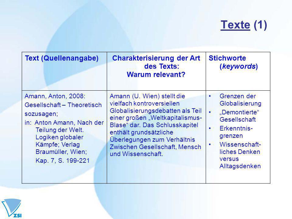 Charakterisierung der Art des Texts: