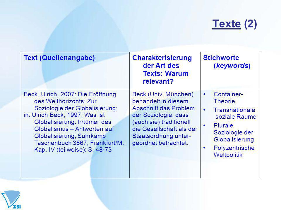 Texte (2) Text (Quellenangabe)