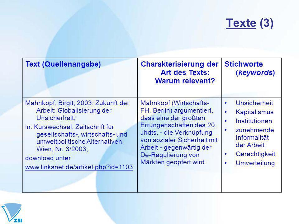 Charakterisierung der Art des Texts: Warum relevant
