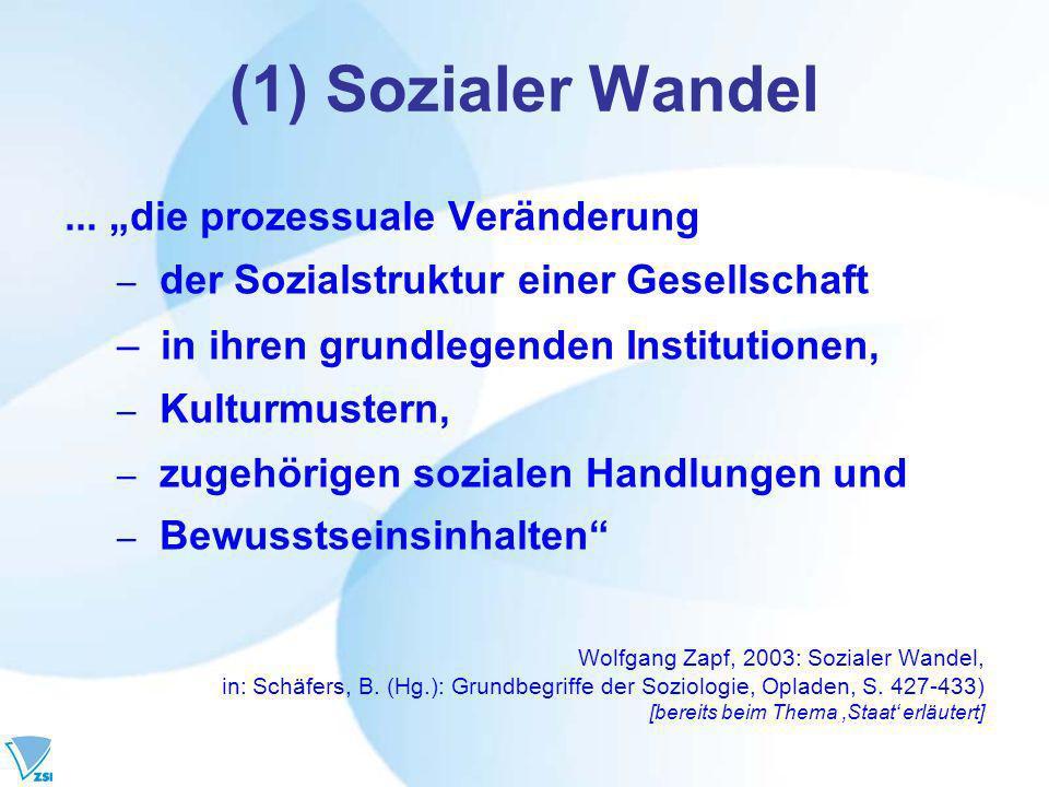 """(1) Sozialer Wandel ... """"die prozessuale Veränderung"""