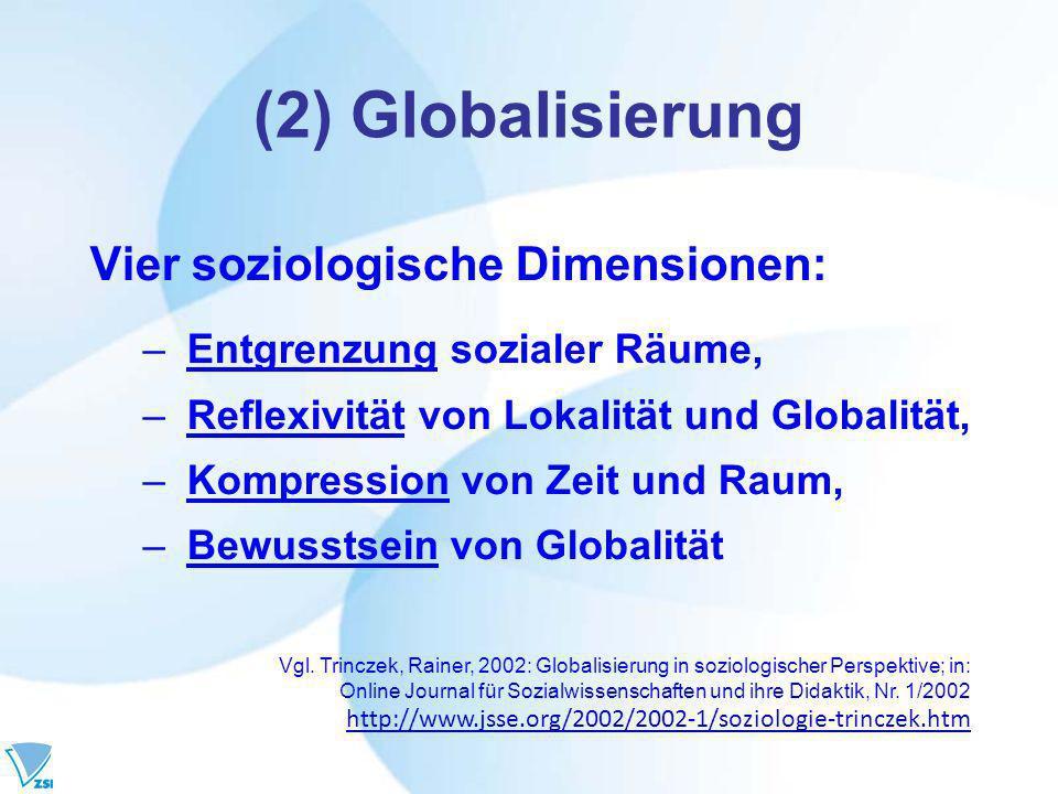 (2) Globalisierung Vier soziologische Dimensionen: