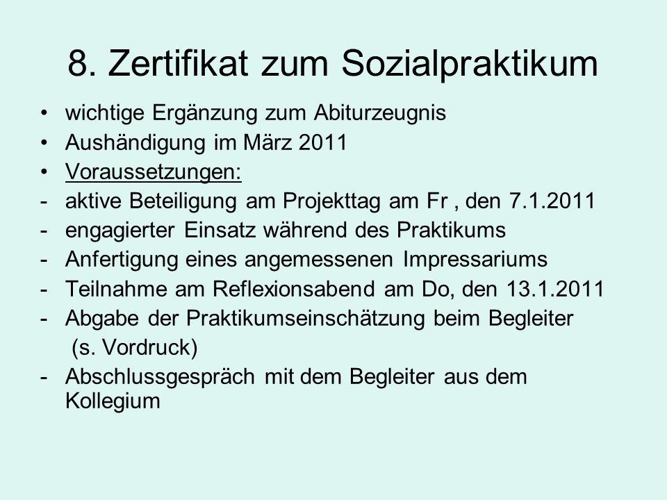 8. Zertifikat zum Sozialpraktikum