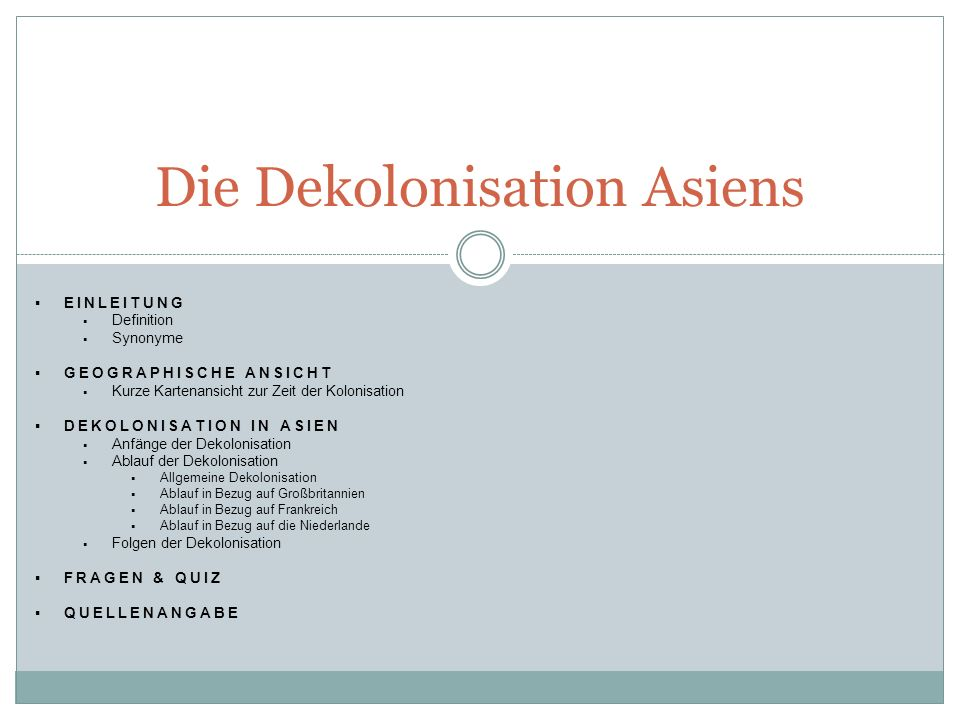 Die Dekolonisation Asiens