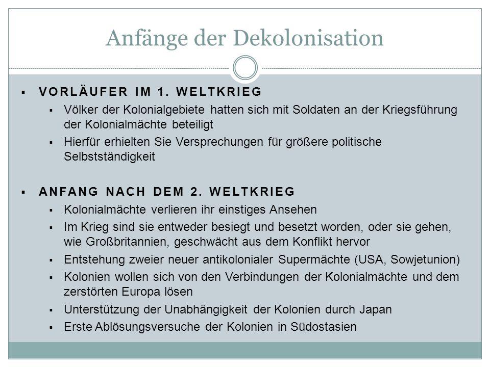 Anfänge der Dekolonisation