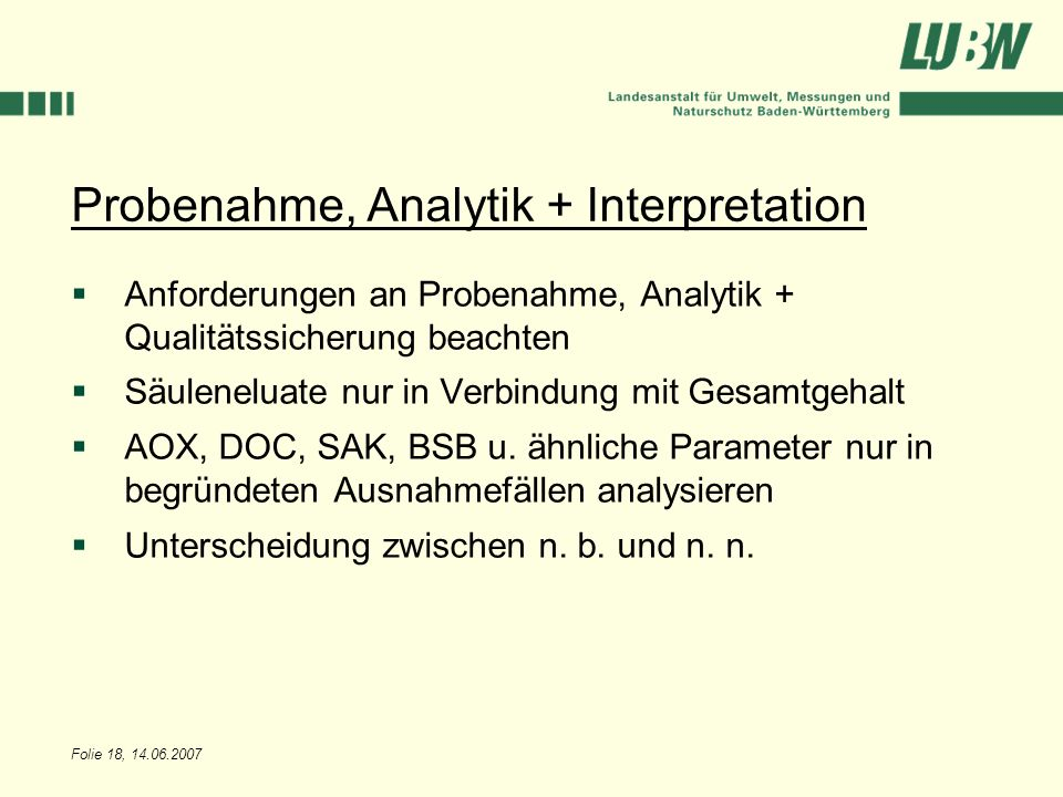 Probenahme, Analytik + Interpretation