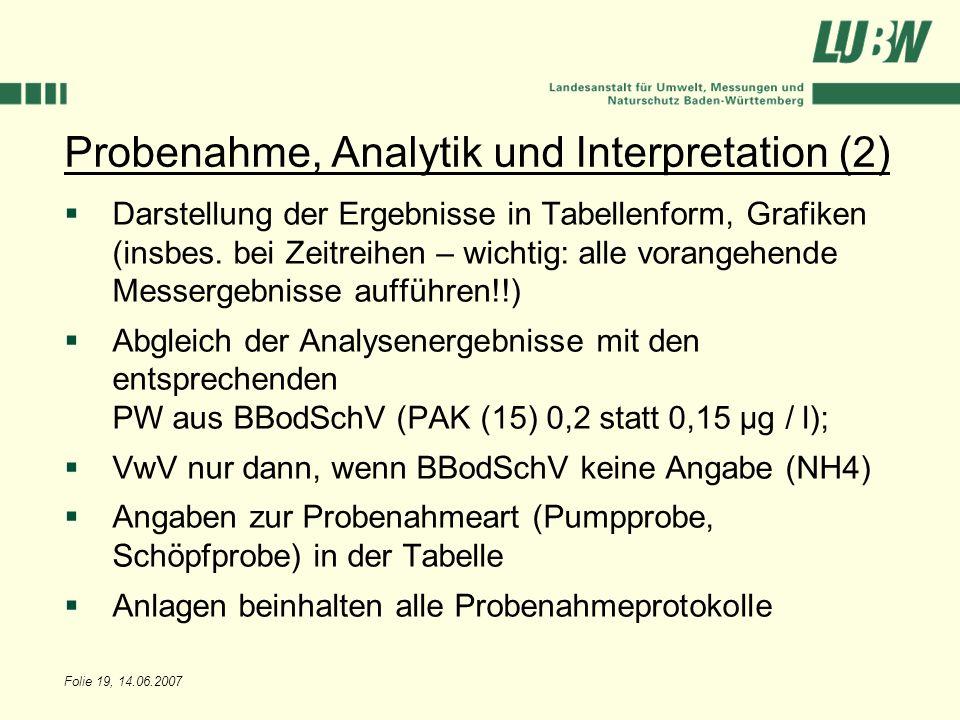 Probenahme, Analytik und Interpretation (2)