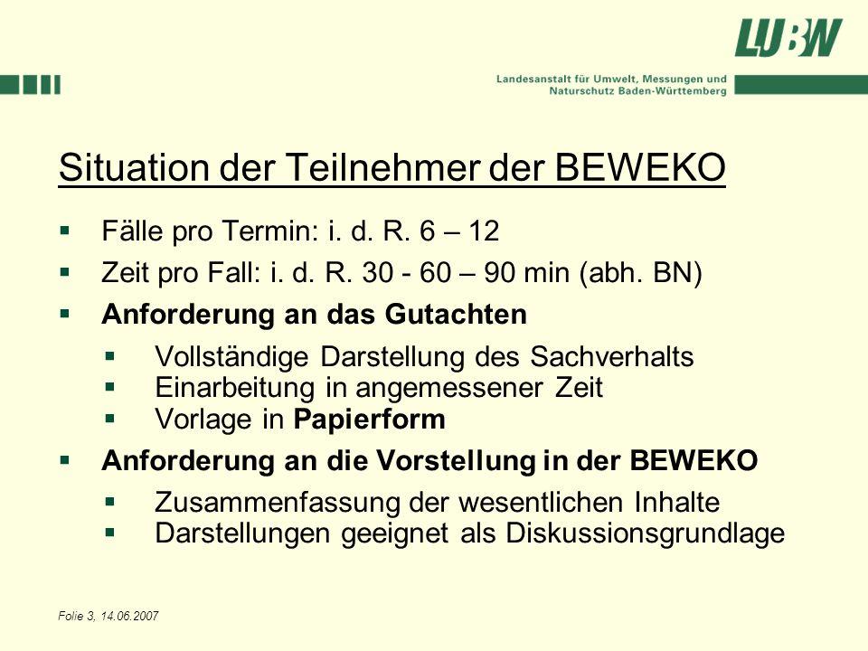 Situation der Teilnehmer der BEWEKO