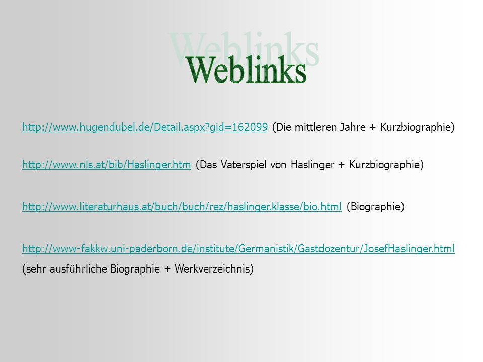 Weblinks http://www.hugendubel.de/Detail.aspx gid=162099 (Die mittleren Jahre + Kurzbiographie)