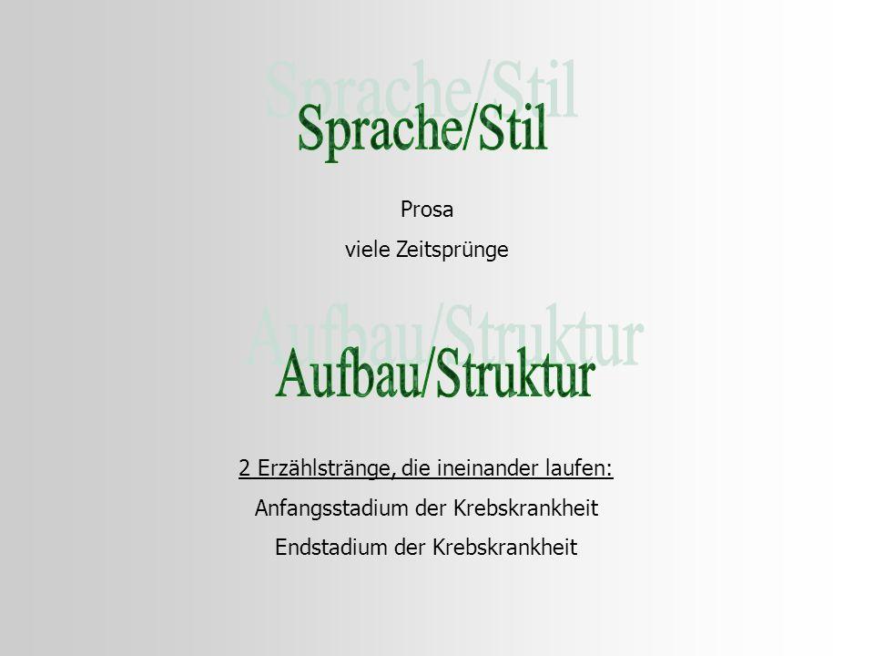 Sprache/Stil Aufbau/Struktur Prosa viele Zeitsprünge
