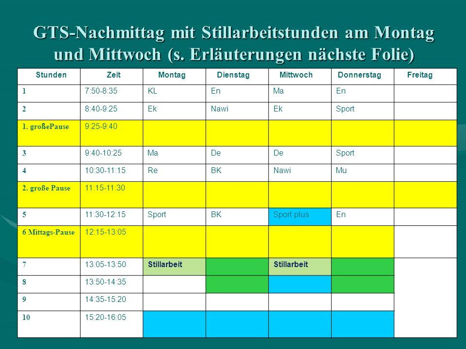 GTS-Nachmittag mit Stillarbeitstunden am Montag und Mittwoch (s