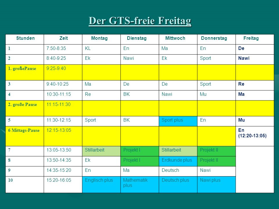 Der GTS-freie Freitag Stunden Zeit Montag Dienstag Mittwoch Donnerstag