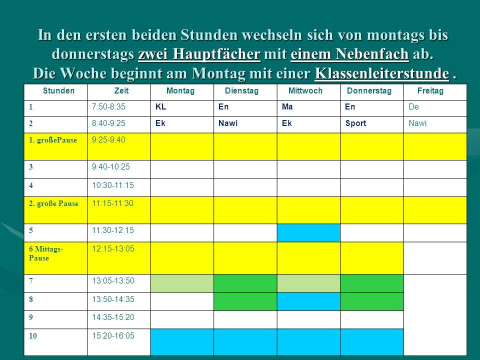 In den ersten beiden Stunden wechseln sich von montags bis donnerstags zwei Hauptfächer mit einem Nebenfach ab. Die Woche beginnt am Montag mit einer Klassenleiterstunde .