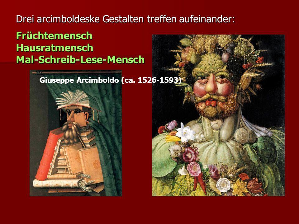 Drei arcimboldeske Gestalten treffen aufeinander: Früchtemensch