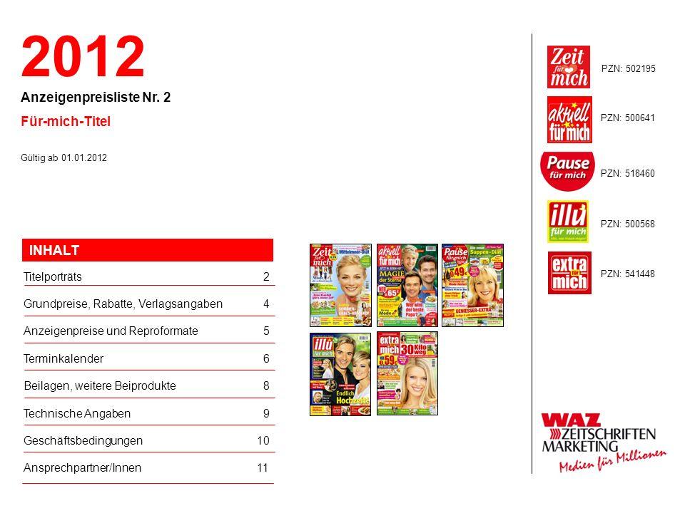 2012 Anzeigenpreisliste Nr. 2 Für-mich-Titel INHALT Titelporträts 2