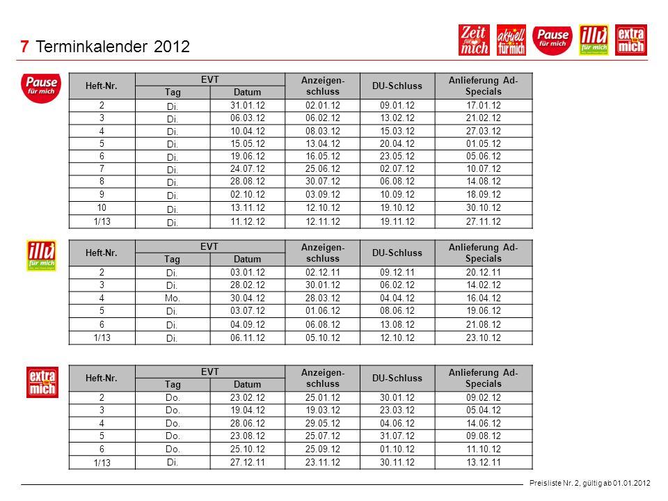 7 Terminkalender 2012 Heft-Nr. EVT Anzeigen-schluss DU-Schluss