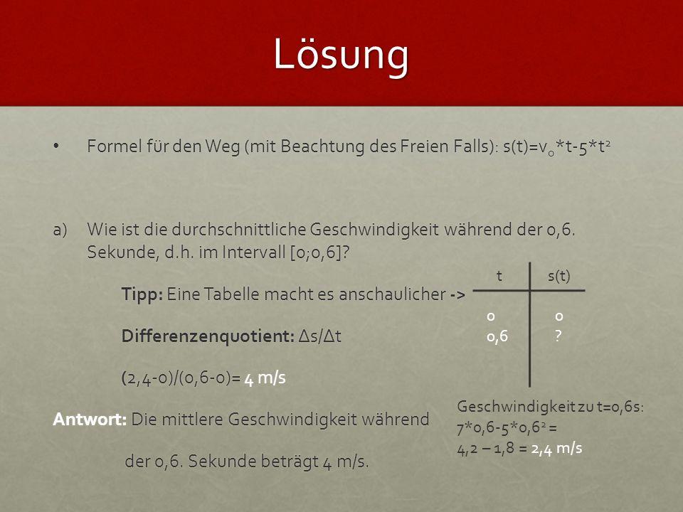Lösung Formel für den Weg (mit Beachtung des Freien Falls): s(t)=vo*t-5*t2.