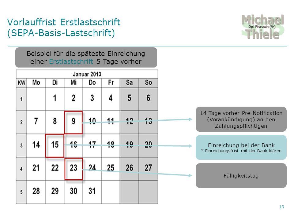 Vorlauffrist Erstlastschrift (SEPA-Basis-Lastschrift)