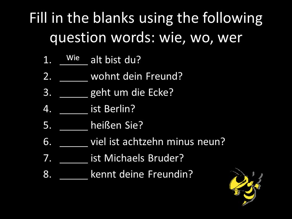 Fill in the blanks using the following question words: wie, wo, wer
