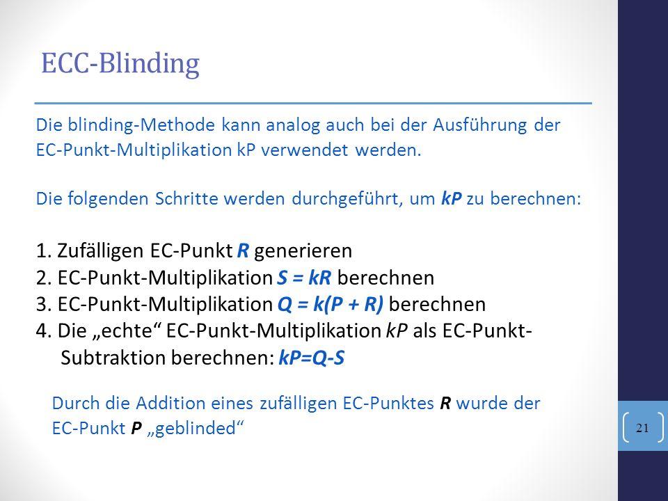 ECC-Blinding 1. Zufälligen EC-Punkt R generieren