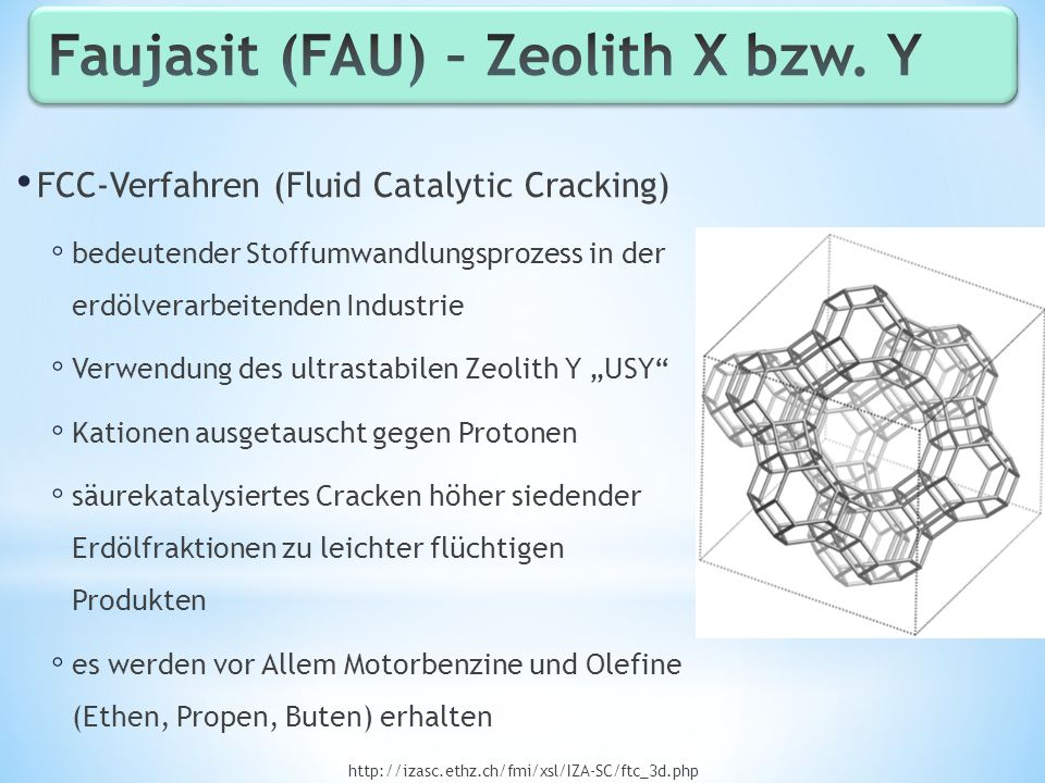 Faujasit (FAU) – Zeolith X bzw. Y