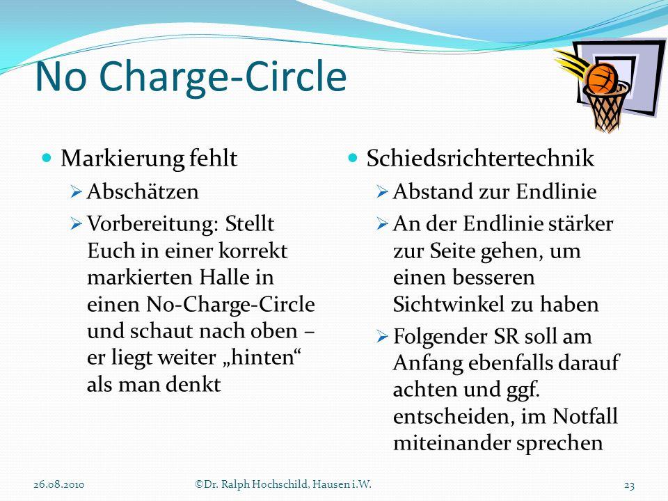 No Charge-Circle Markierung fehlt Schiedsrichtertechnik Abschätzen