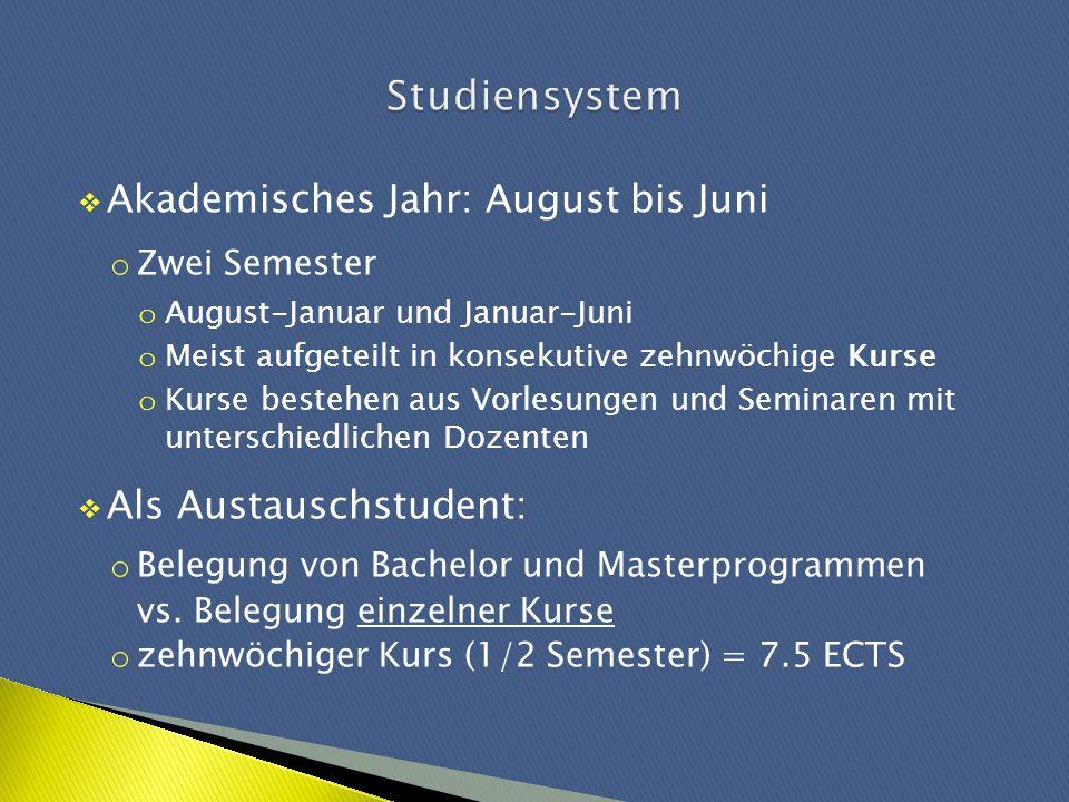 Studiensystem Akademisches Jahr: August bis Juni Als Austauschstudent: