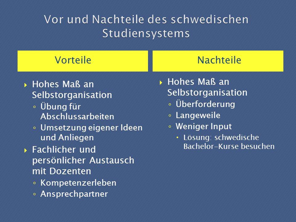Vor und Nachteile des schwedischen Studiensystems