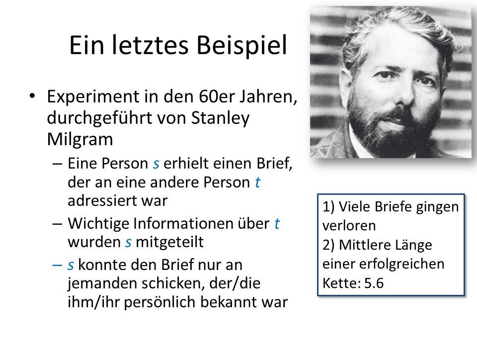 Ein letztes Beispiel Experiment in den 60er Jahren, durchgeführt von Stanley Milgram.