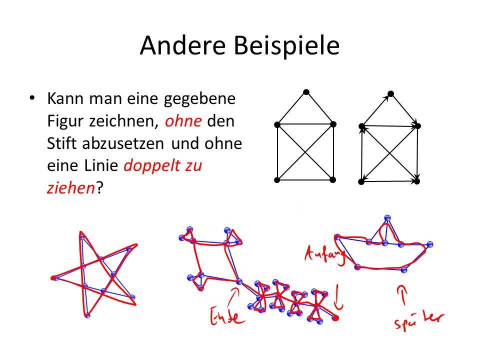 Andere Beispiele Kann man eine gegebene Figur zeichnen, ohne den Stift abzusetzen und ohne eine Linie doppelt zu ziehen