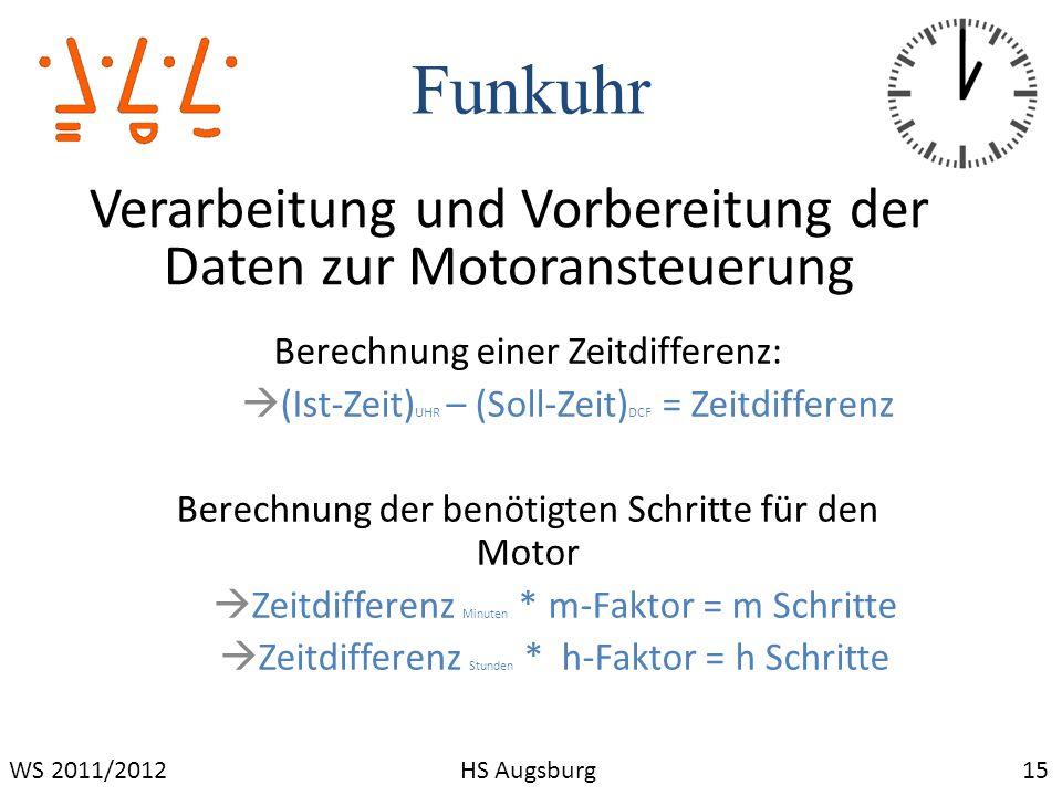 Funkuhr Verarbeitung und Vorbereitung der Daten zur Motoransteuerung
