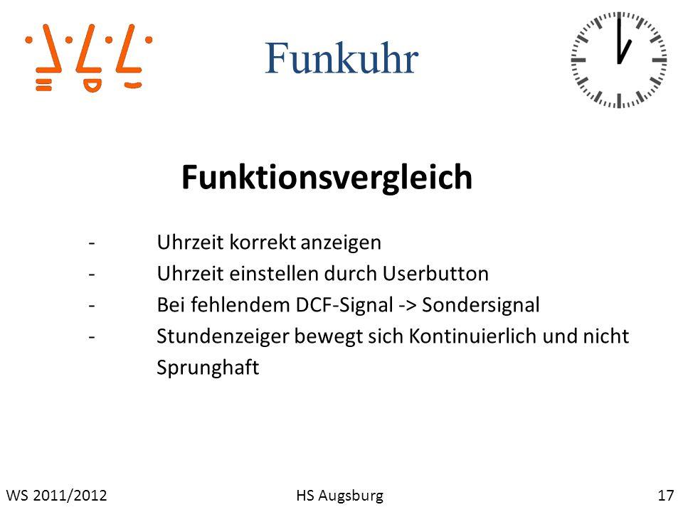 Funkuhr Funktionsvergleich - Uhrzeit korrekt anzeigen