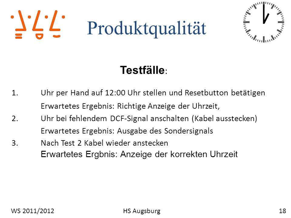 Produktqualität Testfälle: