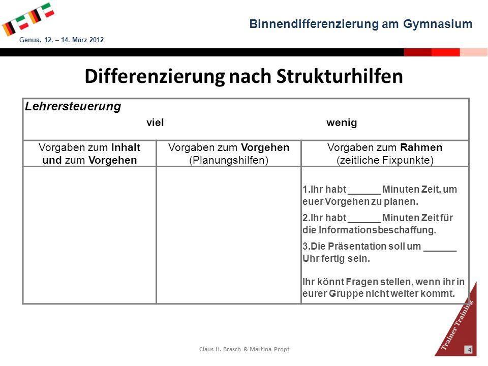 Differenzierung nach Strukturhilfen Claus H. Brasch & Martina Propf