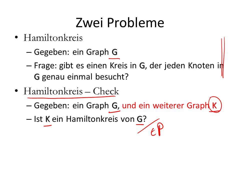 Zwei Probleme Hamiltonkreis Hamiltonkreis – Check Gegeben: ein Graph G