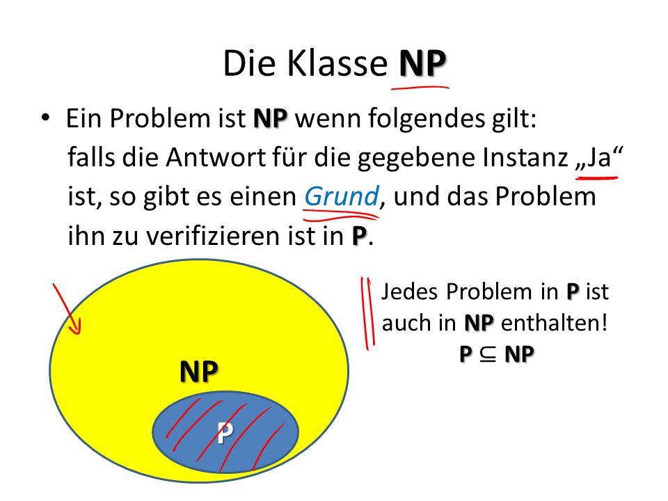 Die Klasse NP NP P Ein Problem ist NP wenn folgendes gilt: