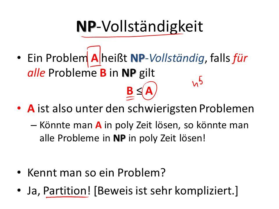 NP-Vollständigkeit Ein Problem A heißt NP-Vollständig, falls für alle Probleme B in NP gilt. B ≤ A.