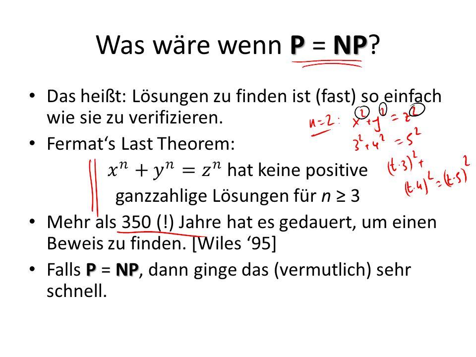 Was wäre wenn P = NP Das heißt: Lösungen zu finden ist (fast) so einfach wie sie zu verifizieren. Fermat's Last Theorem: