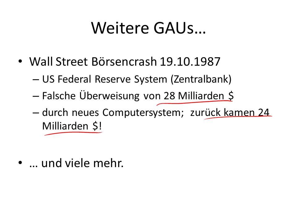 Weitere GAUs… Wall Street Börsencrash 19.10.1987 … und viele mehr.
