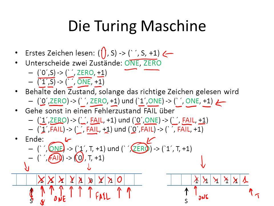 Die Turing Maschine Erstes Zeichen lesen: (` ´, S) -> (` ´, S, +1)