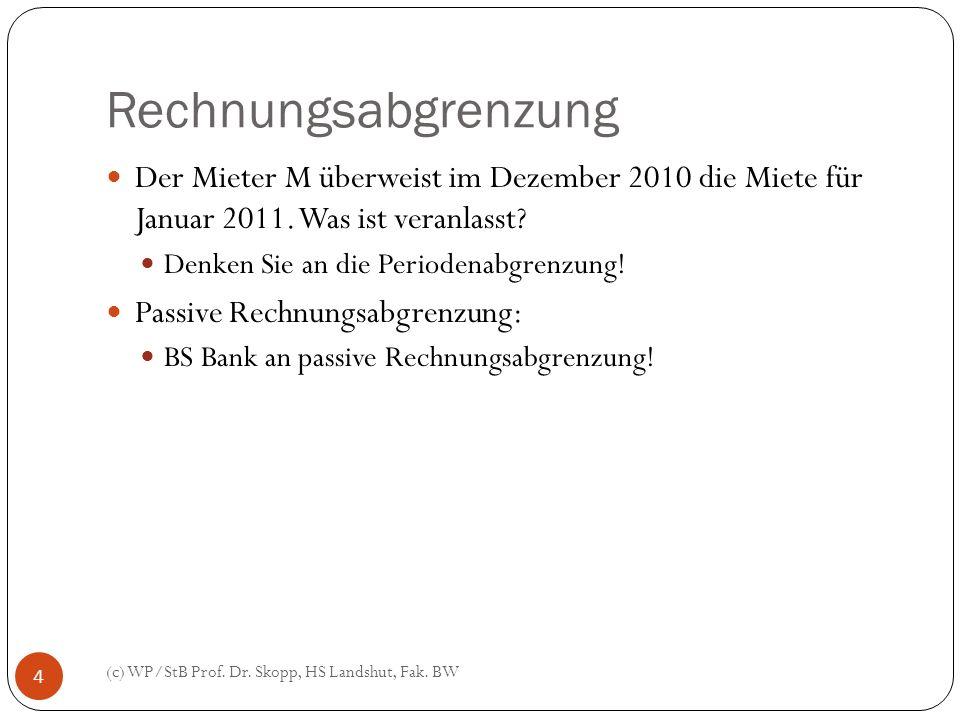 Rechnungsabgrenzung Der Mieter M überweist im Dezember 2010 die Miete für Januar 2011. Was ist veranlasst