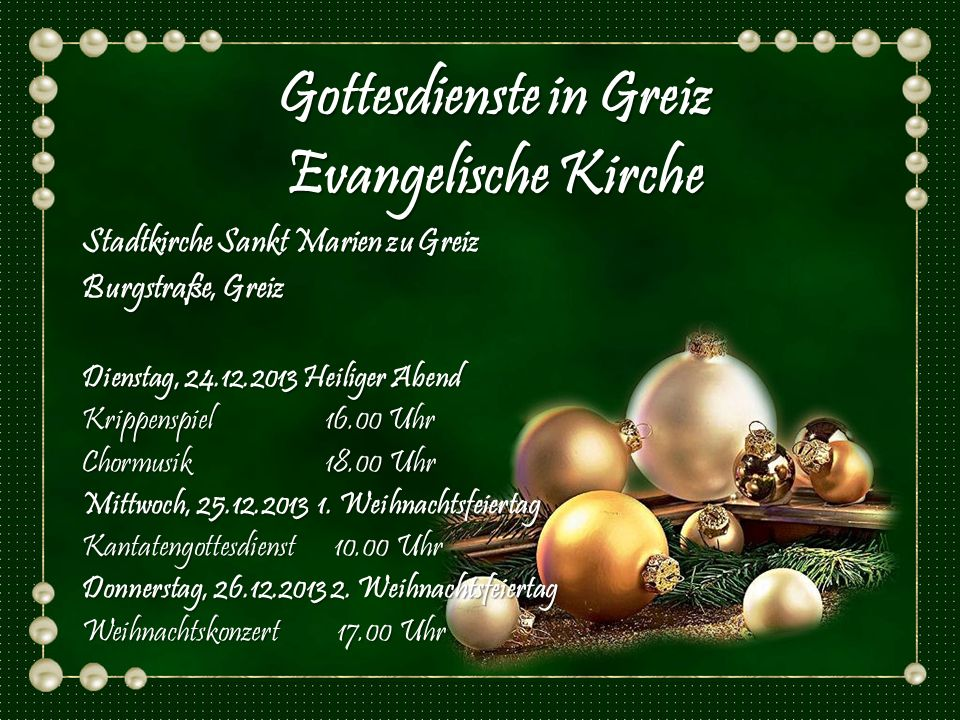 Gottesdienste in Greiz Evangelische Kirche