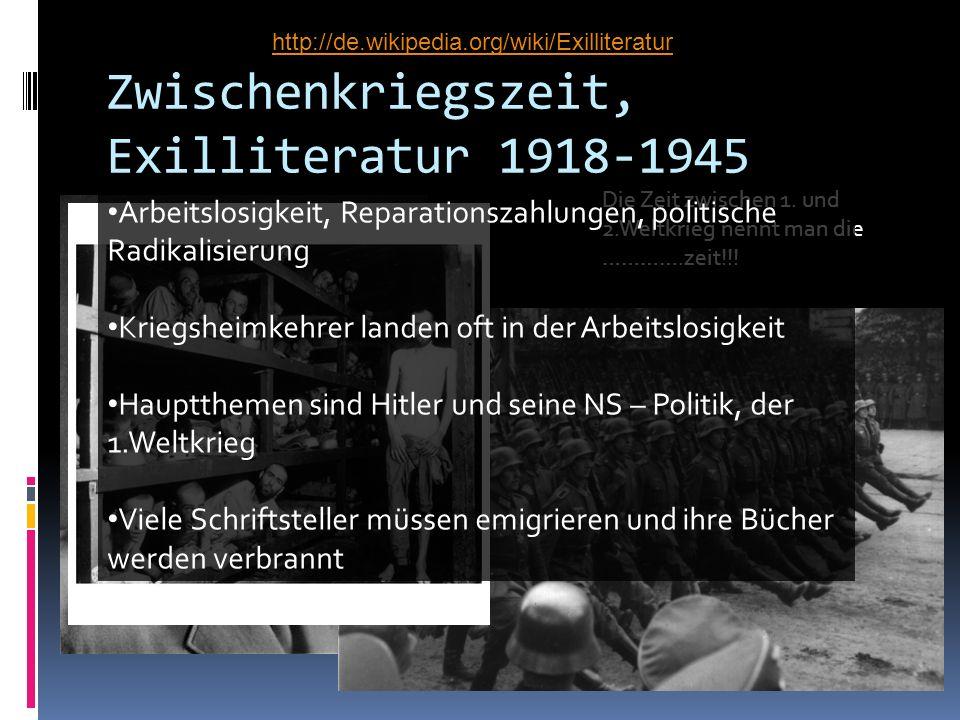 Zwischenkriegszeit, Exilliteratur 1918-1945