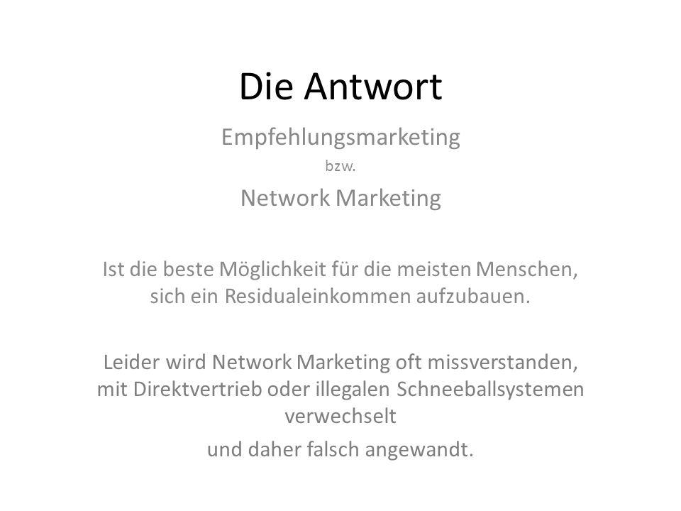 Die Antwort Empfehlungsmarketing Network Marketing