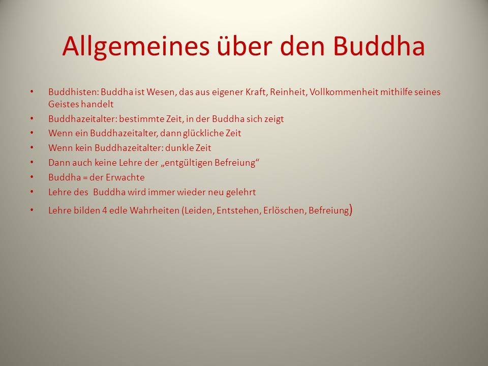 Allgemeines über den Buddha