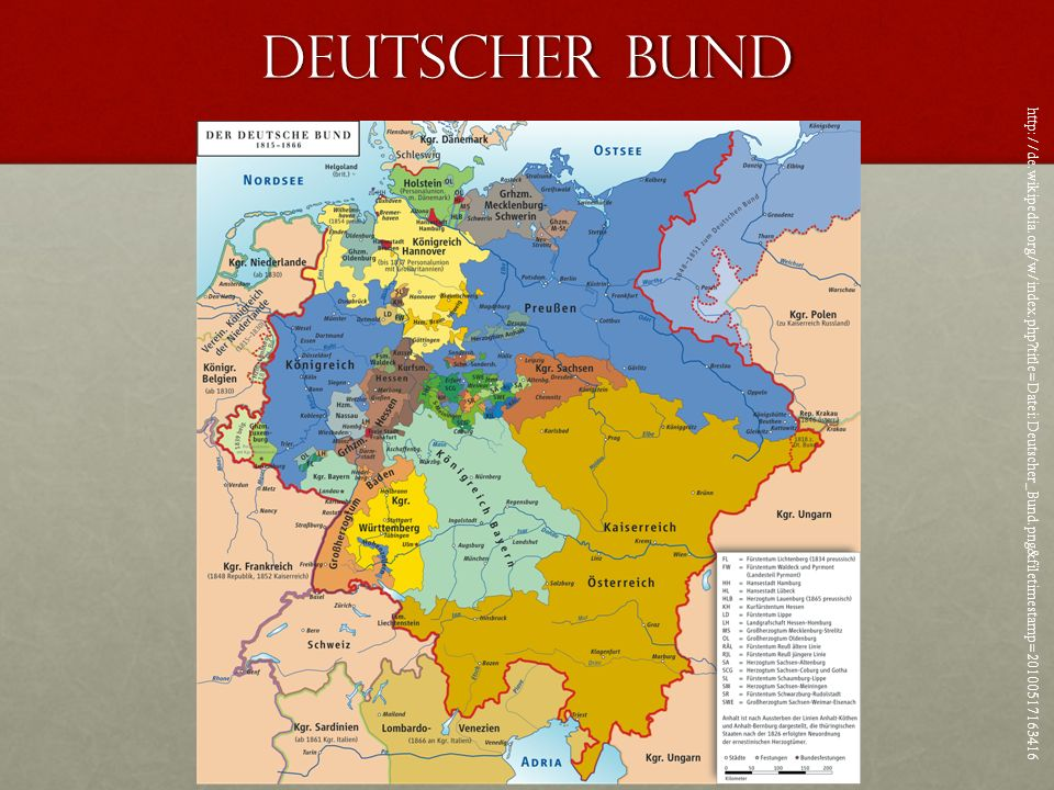 Deutscher Bund http://de.wikipedia.org/w/index.php title=Datei:Deutscher_Bund.png&filetimestamp=20100517163416.