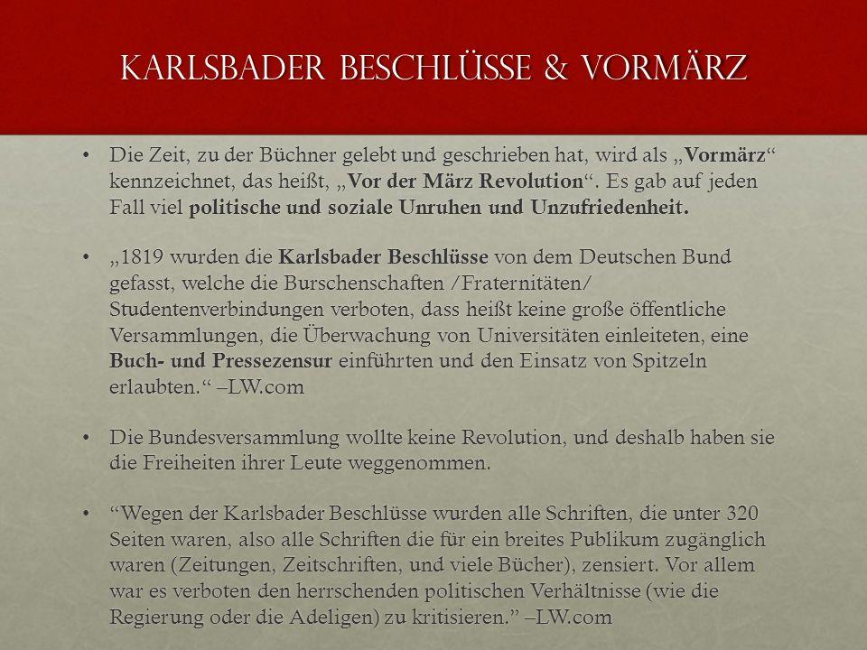 Karlsbader beschlüsse & Vormärz