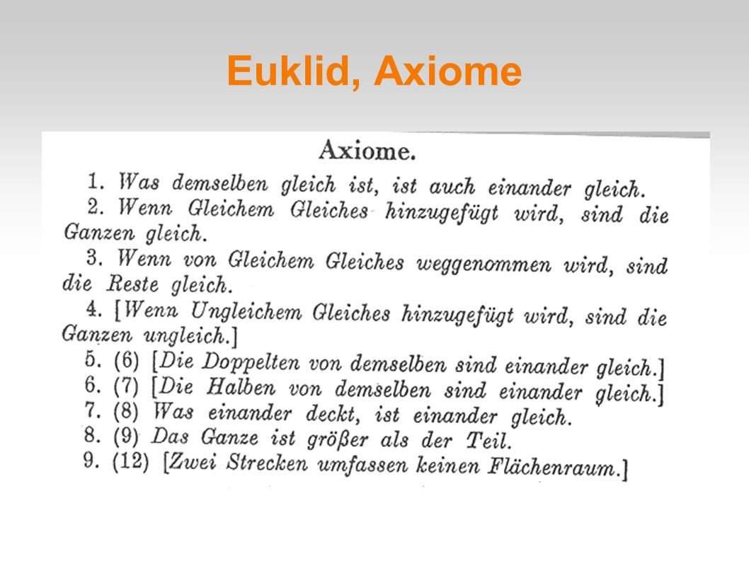 Euklid, Axiome